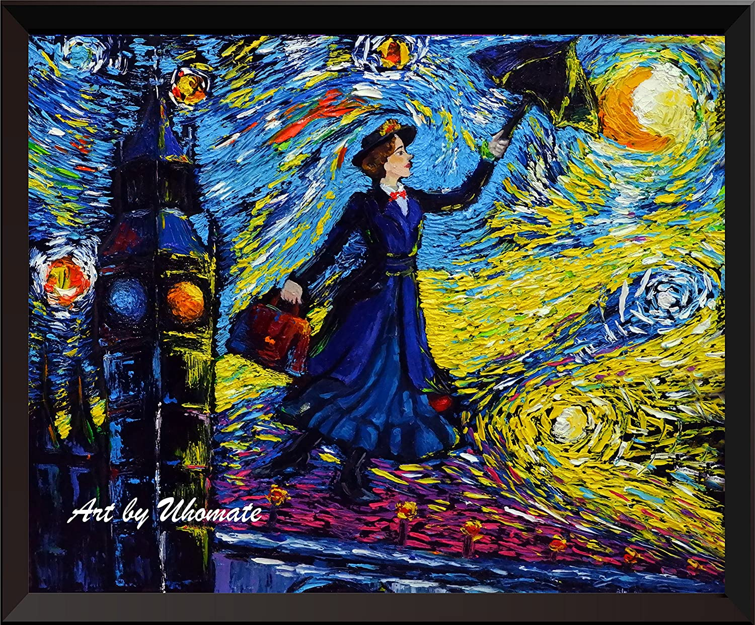 Uhomate Mary Poppins Vincent Van Gogh Starry Night Posters Home Canvas Wall Art Nursery Decor Living Room Wall Decor A066 (8X10)
