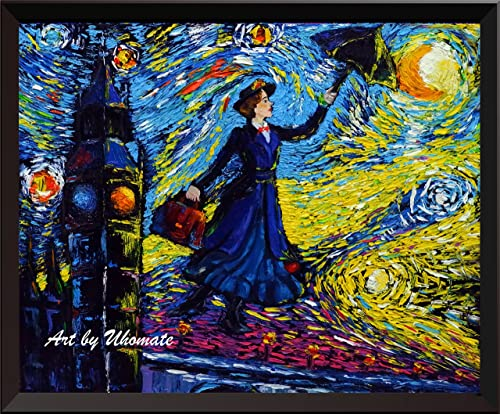 Uhomate Mary Poppins Vincent Van Gogh Starry Night Posters Home Canvas Wall Art Anniversary Gifts Baby Gift Nursery Decor Living Room Wall Decor A066 13X19