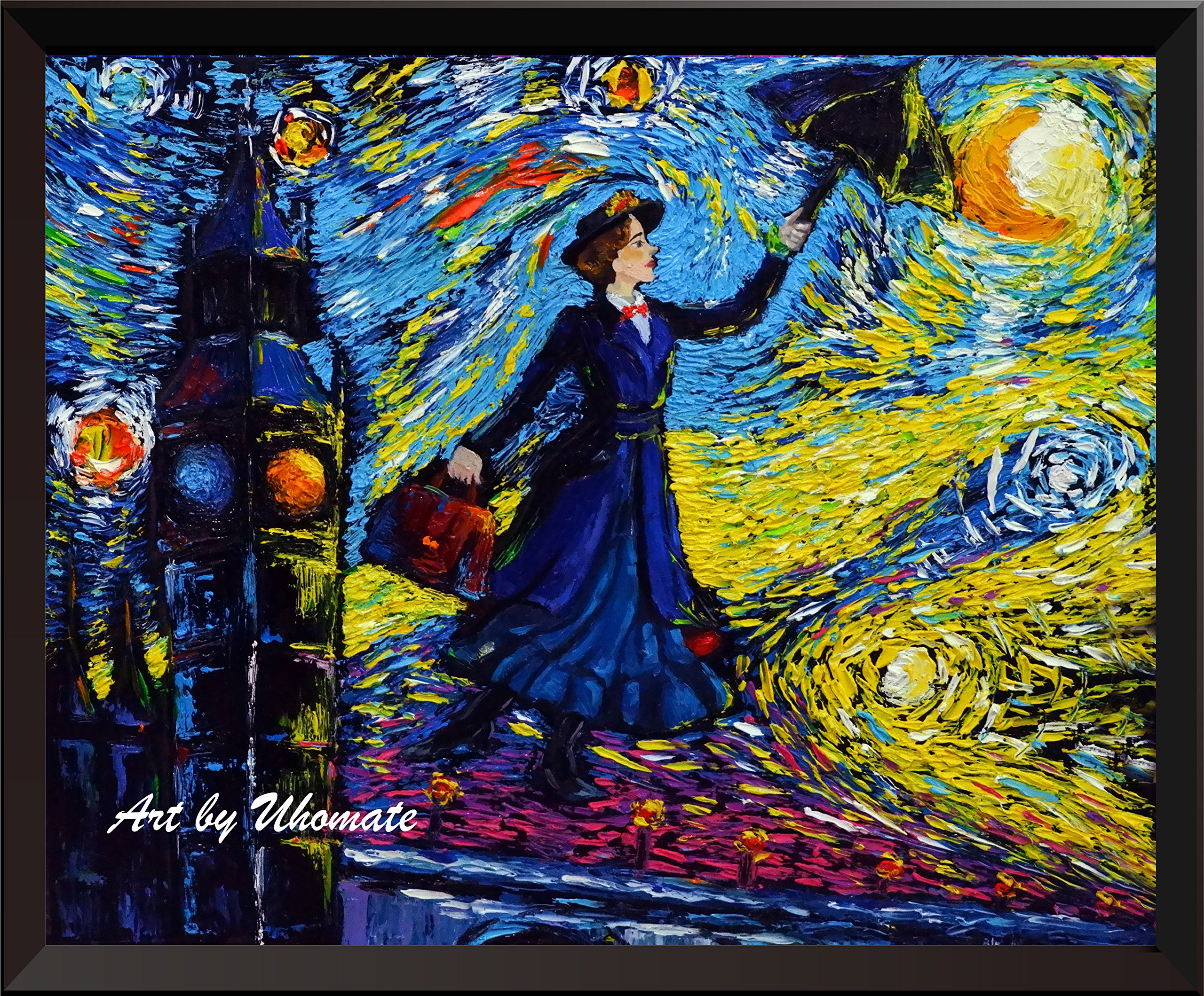 Uhomate Mary Poppins Vincent Van Gogh Starry Night Posters Home Canvas Wall Art Anniversary Gifts Baby Gift Nursery Decor Living Room Wall Decor A066 (8X10)