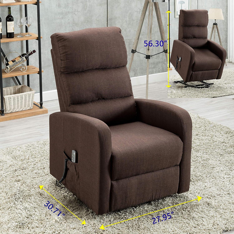 Leather Manual Recliner Tartan Fabric Plaid Armchair Electric Massage Chair Sofa
