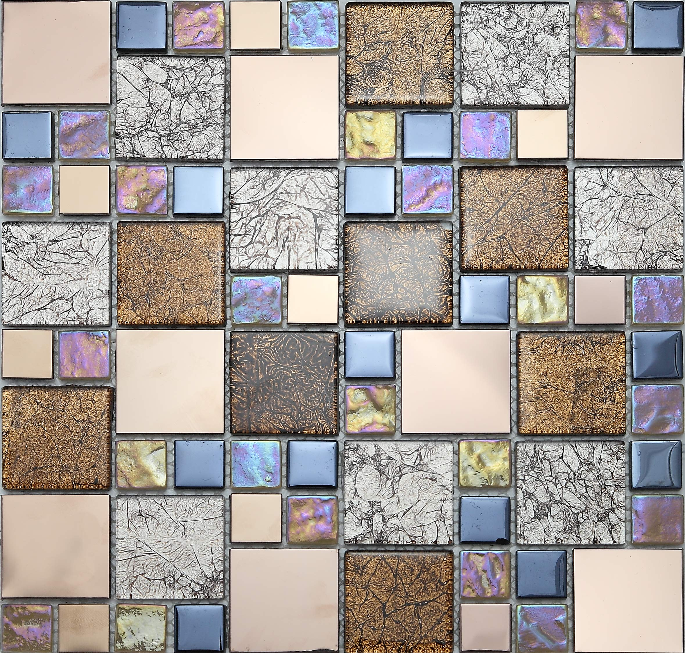 Iridescent Glass Metal Mosaic Tiles for Wall, LSGD01 by LSDECO