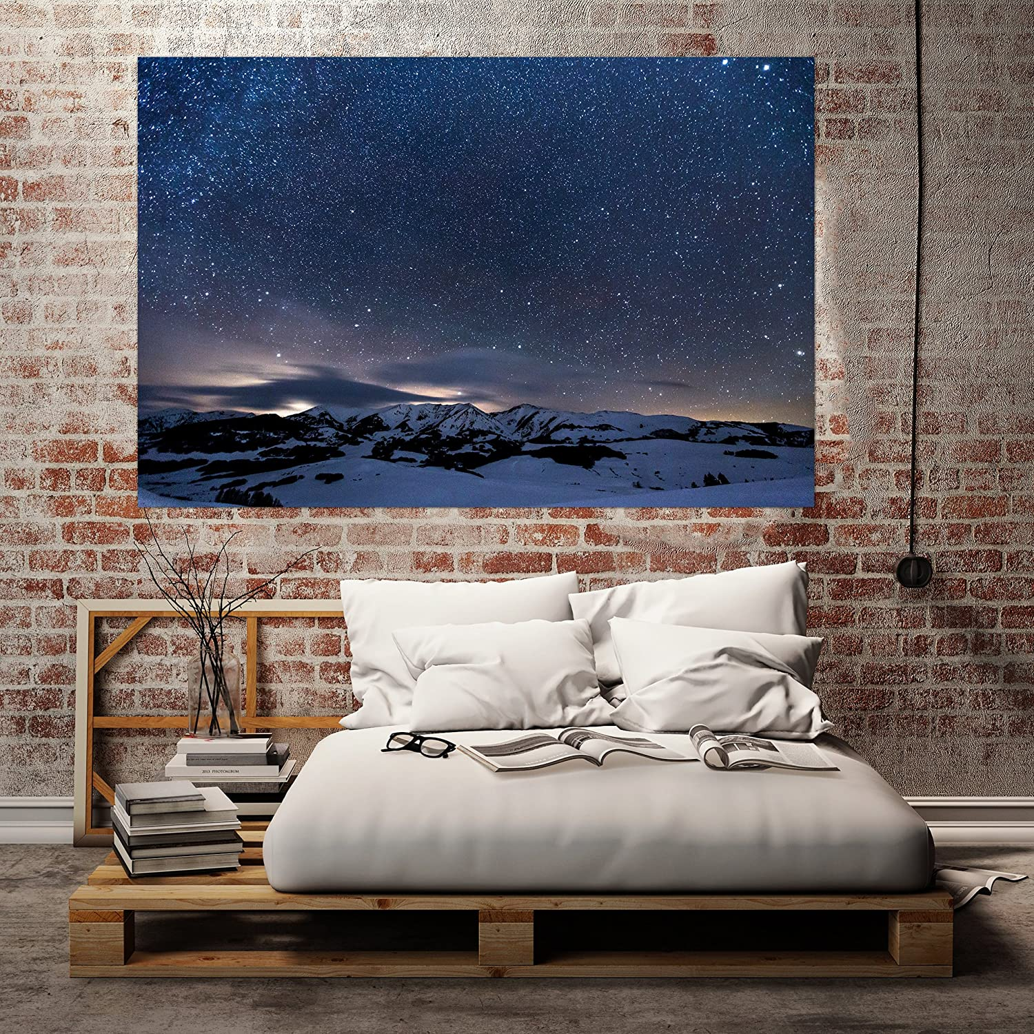 Amazon Starry Night Sky Snow Mountainsアートプリント壁装飾