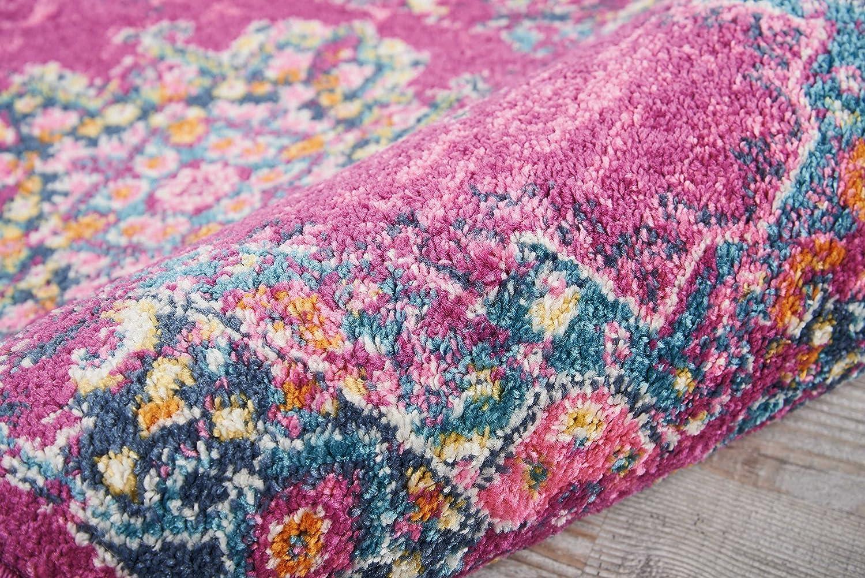 Ivory//Fushia Nourison PSN03 Passion Pink and White Vintage Area Rug 22 x 10