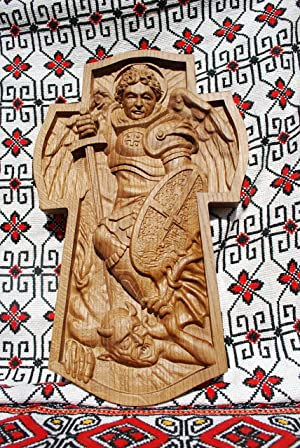 Archangel Michael Cross Durable Unique christian gift Wood Carved religious wall plaque FREE ENGRAVING FREE SHIPPING