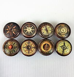 Set Of 8 Vintage Compass Print Cabinet Knobs (Set 1)