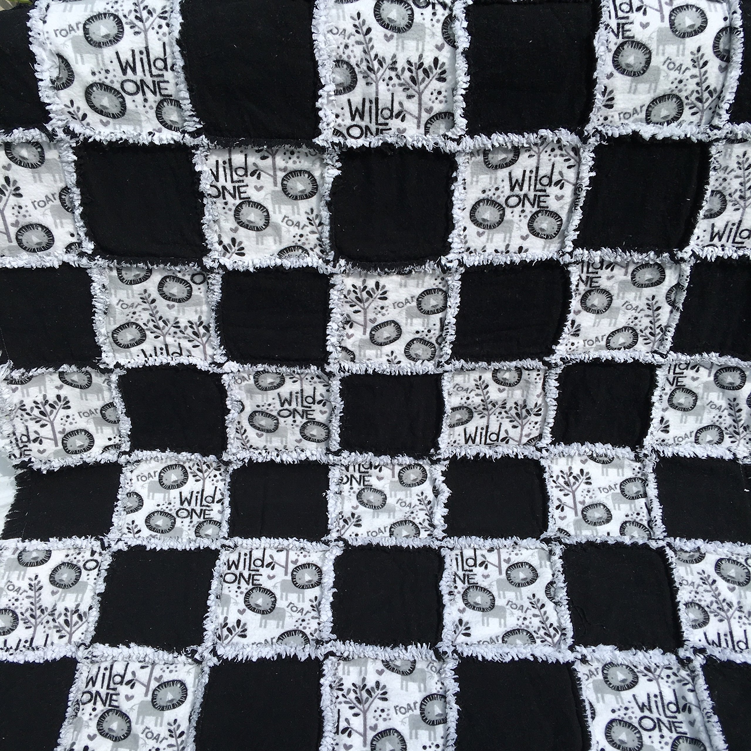 Black and white Wild One flannel baby rag quilt