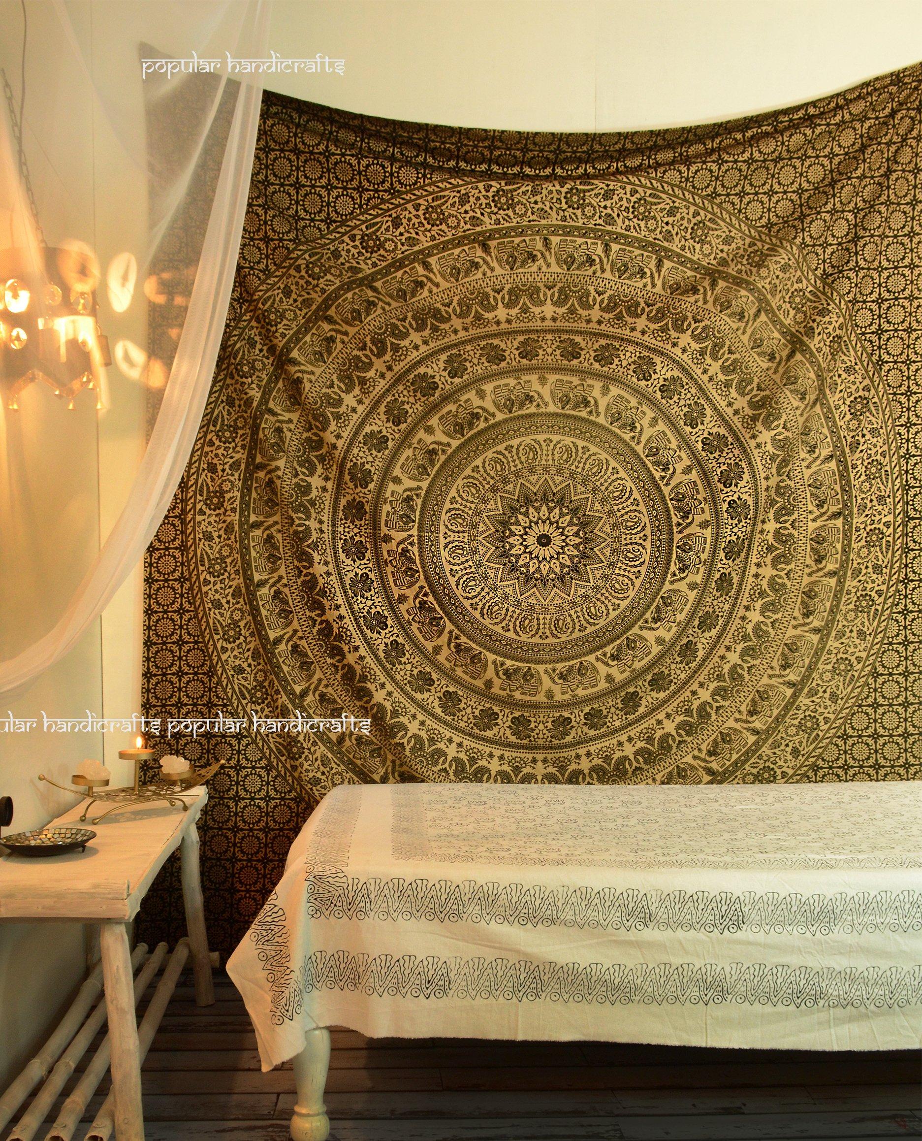 Popular Handicrafts d Kp714 Elephant Tapestry Wall Hanging Hippie Bohemian Mandala Wall Art With Metallic Shine tapestries (215x230cms) Gold on Black dye