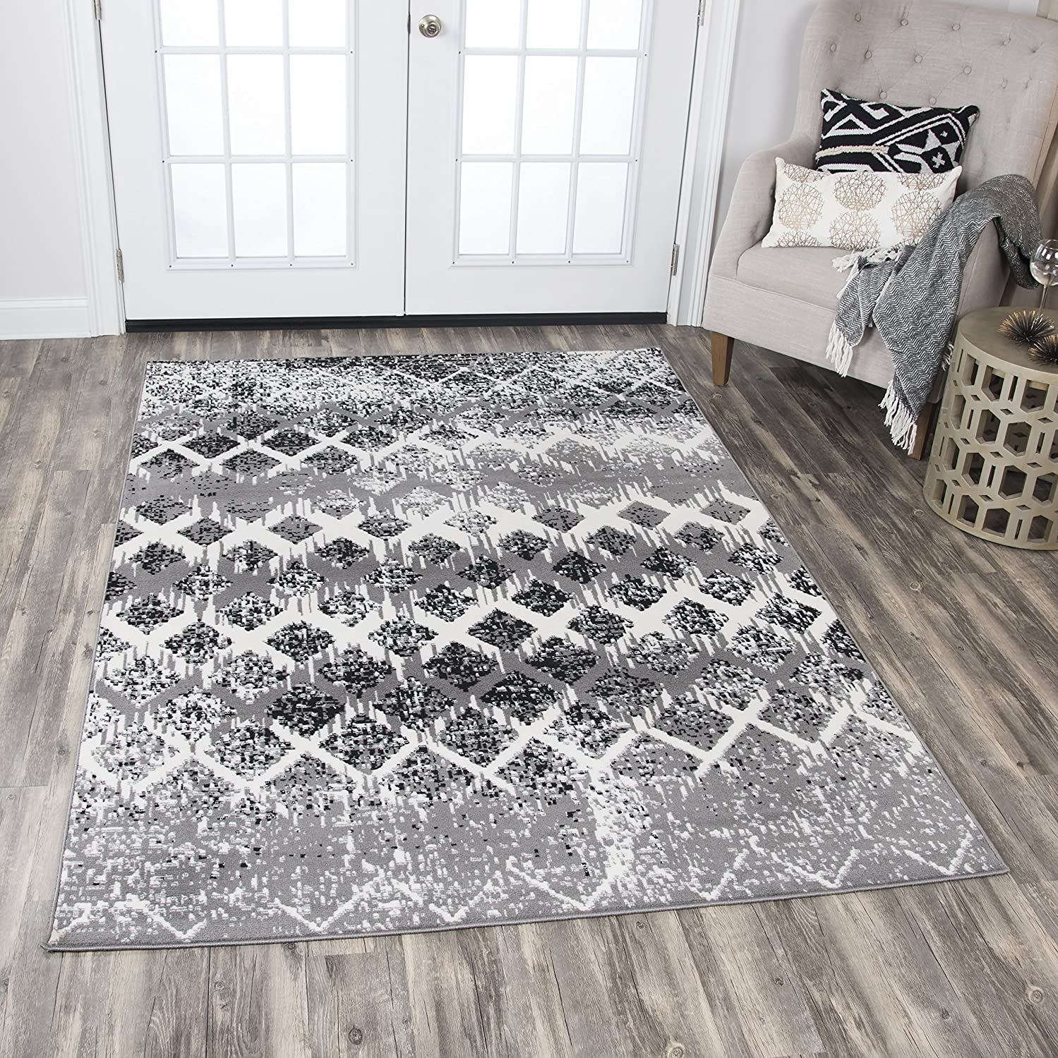 Rizzy Home Xcite Collection Polypropylene Area Rug, 8' x 10', Gray/Ivory/Black Geometric