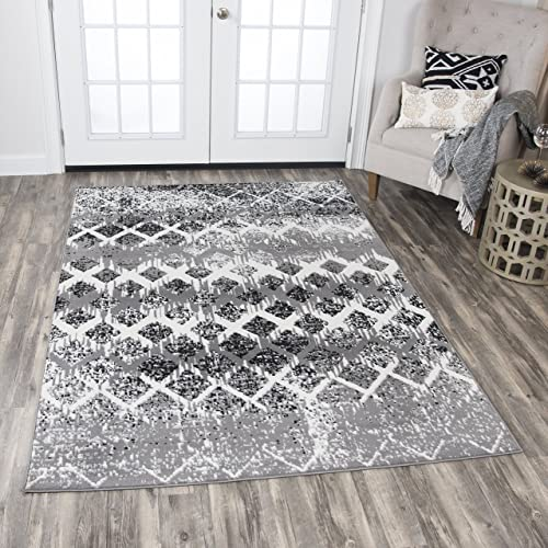Rizzy Home Xcite Collection Polypropylene Area Rug, 8 x 10 , Gray Ivory Black Geometric