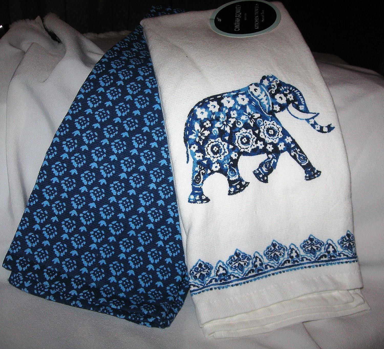 Amazon.com: Cynthia Rowley Set of 2 Blue Elephant Kitchen Towels ...