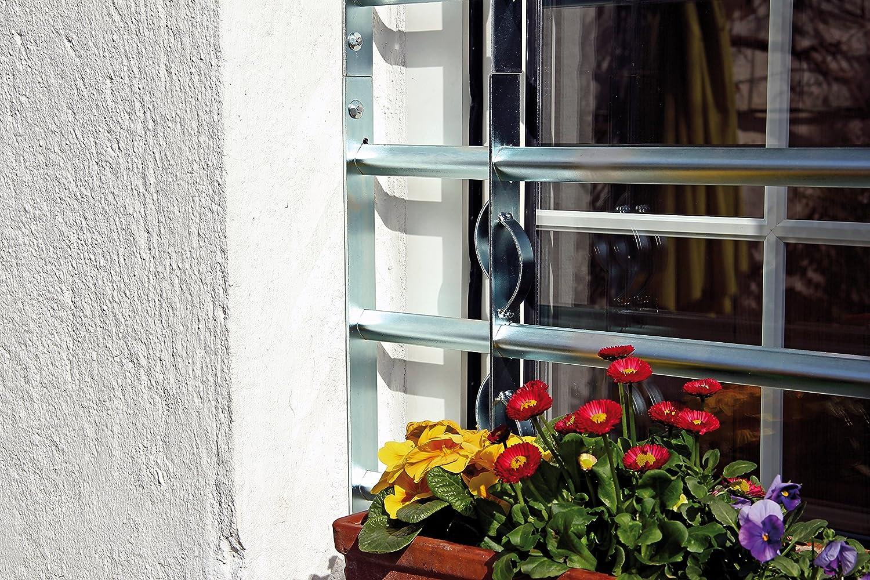 Einbruchschutz Gitter ausziehbar f/ür Fenster au/ßen galvanisch blau verzinkt 300 x 500-650 mm GAH-Alberts 563585 Fenstergitter Secorino Style