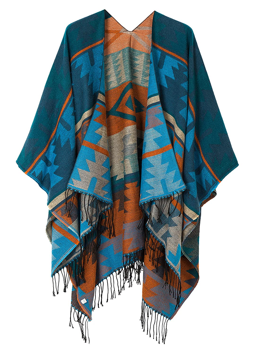 Urban CoCo Women's Printed Tassel Open front Poncho Cape Cardigan Wrap Shawl (Black-series 2) RS160362H