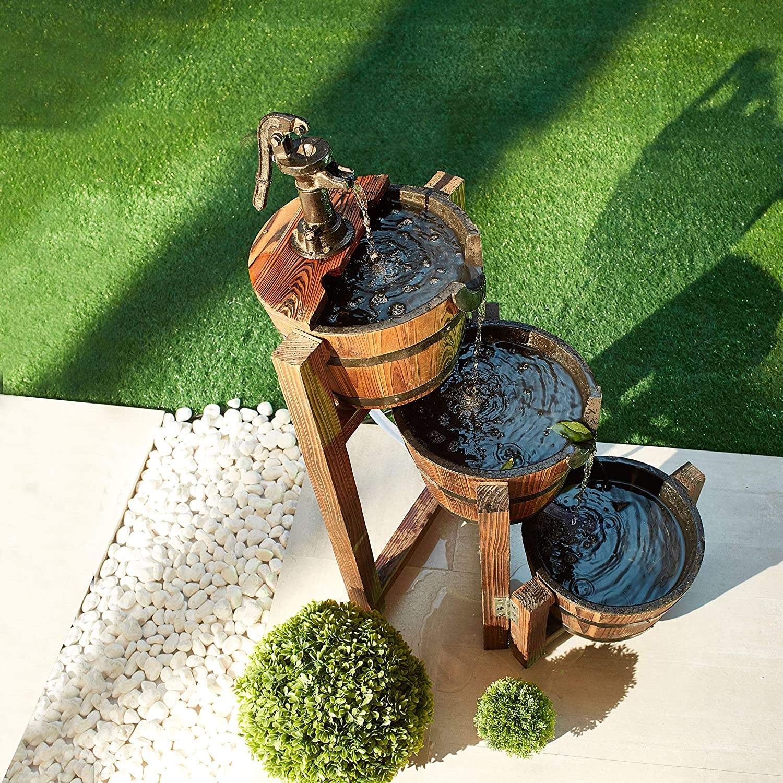 LOKATSE HOME 3-Tier Outdoor Patio Wooden Rustic Barrel Water Fountain for Garden, Backyard, Brown