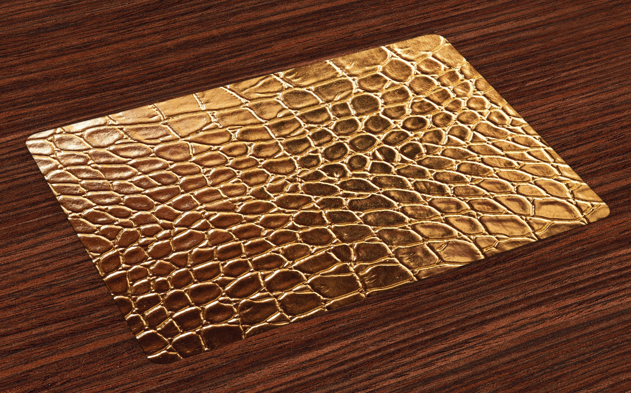Lunarable Animal Print Place Mats Set of 4, Tint Golden Vivid Crocodile Skin Nature Life Toughness High-End Design Artwork, Washable Fabric Placemats for Dining Room Kitchen Table Decor, Gold Brown