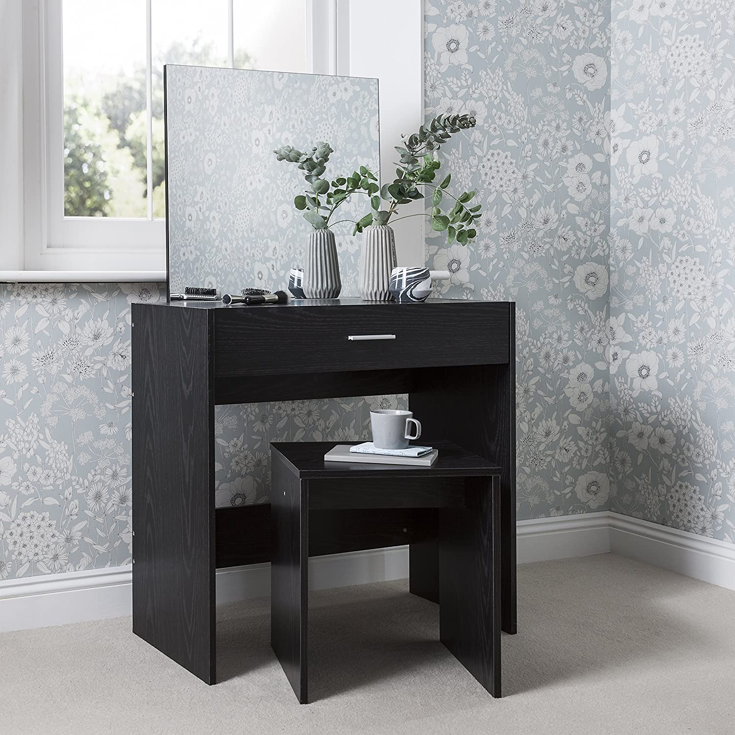 Laura James Dressing Table With Mirror And Stool Set (Black)