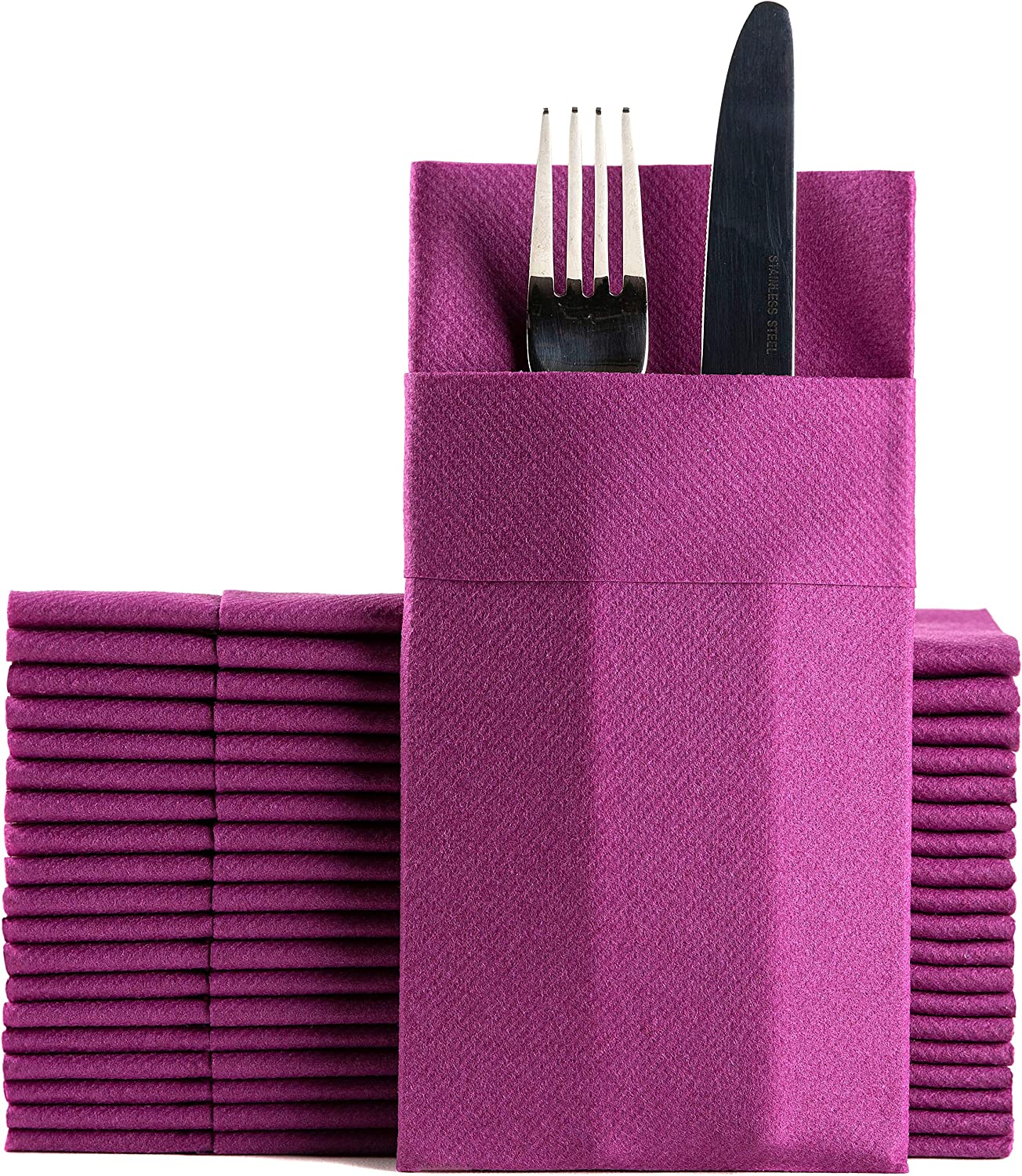 Purple Dinner Napkins Cloth Like with Built-in Flatware Pocket, Linen-Feel Absorbent Disposable Paper Hand Napkins for Kitchen, Bathroom, Parties, Weddings, Dinners or Events, 1/8 Fold, Pack of 50
