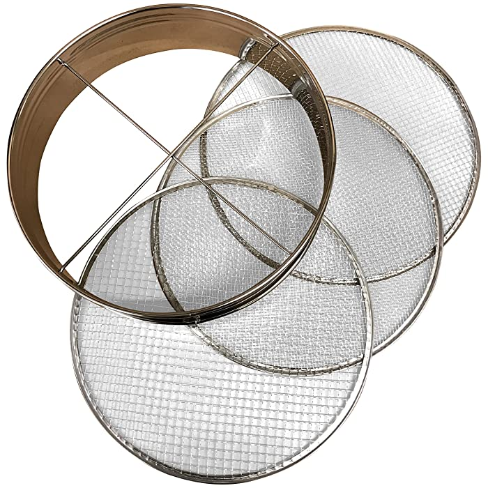"""4pc Soil Sieve Set, 12"""" diameter - Stainless Steel Frame Three Interchangeable Sieves With Varying Mesh Sizes Grade - Mix Soil Filter Large Debris Replacement Screens Available Great for Bonsai"""