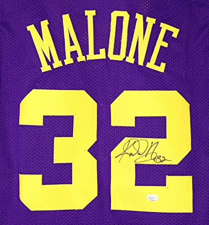 save off 3f2c1 f28df Karl Malone Utah Jazz Signed Autographed Purple #32 Custom ...