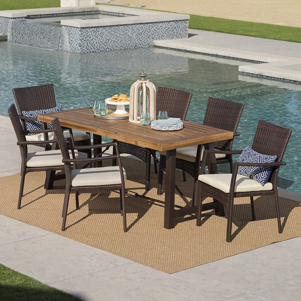 Great Deal Furniture Playa Outdoor 7 Piece Dining Set with Teak Finished Wood Table and Brown Wicker Dining Chairs with Crème Water Resistant Cushions