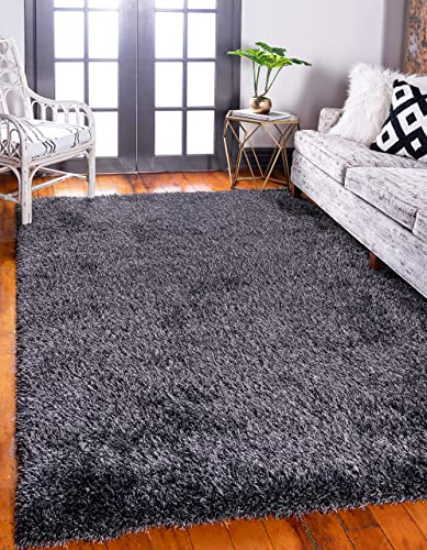 Unique Loom Luxe Solo Collection Plush Modern Black Area Rug 7 0 x 10 0