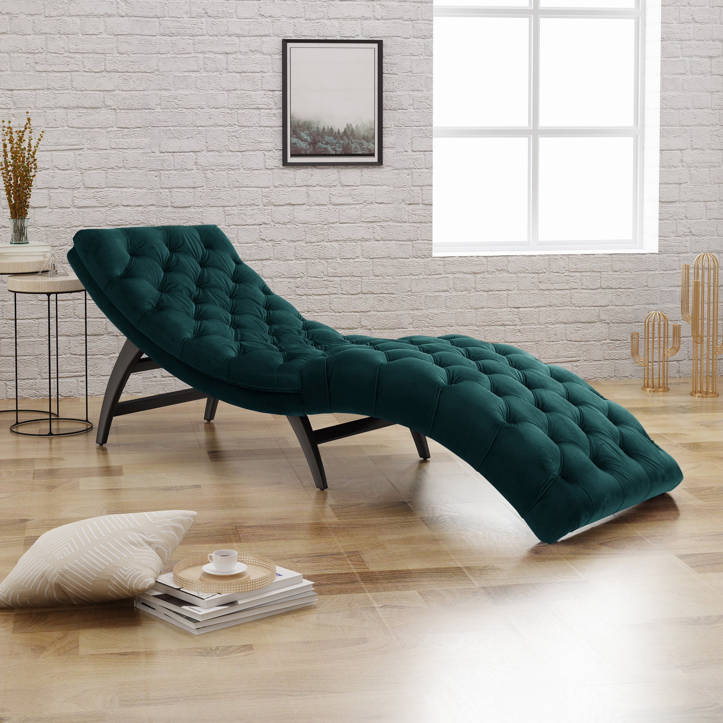 Astounding Details About Modern Chaise Lounge Chair Sofa Daybed Curved Lounger Bedroom Teal Velvet Tufted Machost Co Dining Chair Design Ideas Machostcouk