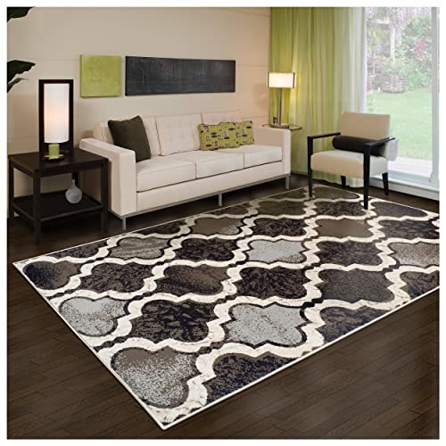 Superior Modern Viking Collection Area Rug, 8mm Pile Height with Jute Backing, Chic Textured Geometric Trellis Pattern, Anti-Static, Water-Repellent Rugs – Chocolate, 3 x 5 Rug