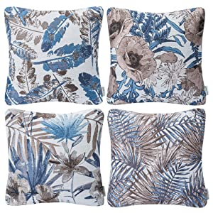 "Mika Home Set of 4 Blue Garden Series Throw Pillow Covers Pillow Cases for Sofa Couch Home Decorations Flowers and Leaves 18"" x 18"" 45cm x 45cm"