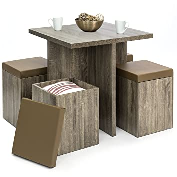 Best Choice Products 5 Piece Wood Dining Table Set W/ Storage Ottoman Stools  (