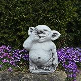 Lustiger XXL Riesen Troll mit Finger in Nase aus Steinguss, frostfest