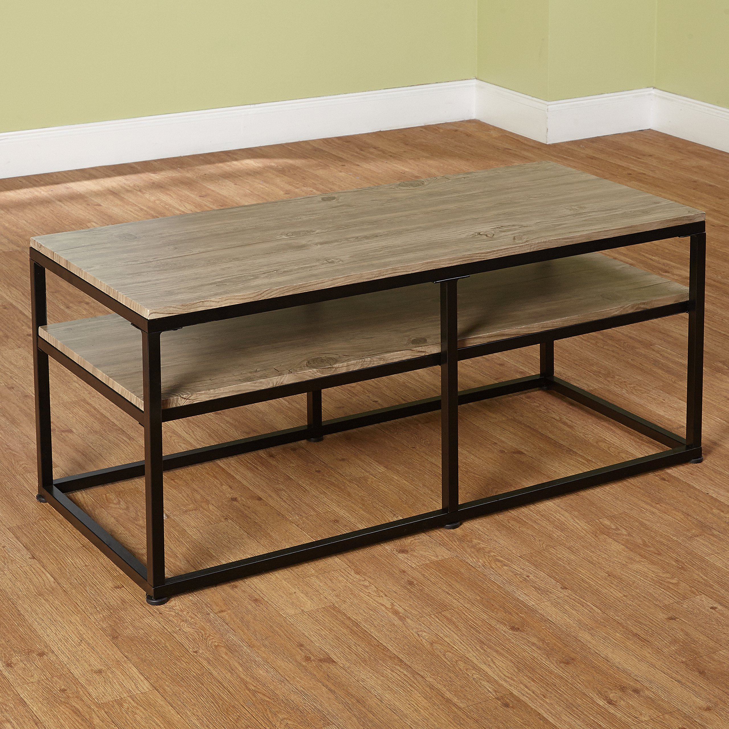 Target Marketing Systems Piazza Collection Modern Reclaimed Sleek Coffee Table, With Open Shelves, Wood/Metal by Target Marketing Systems