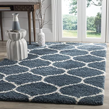 Safavieh Hudson Shag Collection SGH280L Slate Blue and Ivory Moroccan Ogee Plush Area Rug (5'1  x 7'6 )