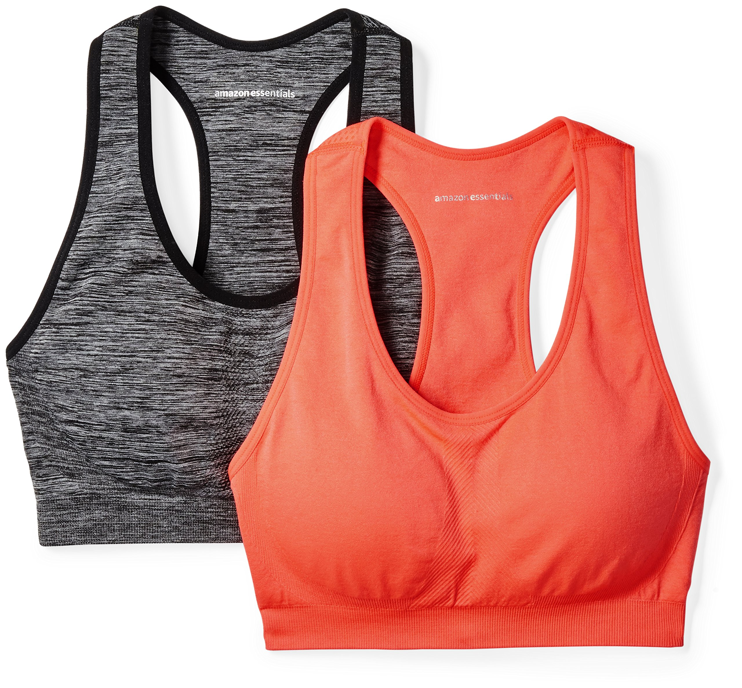 Amazon Essentials Women's 2-Pack Light Support Seamless Sports Bras, Black Space Dye/Fiery Coral, Small