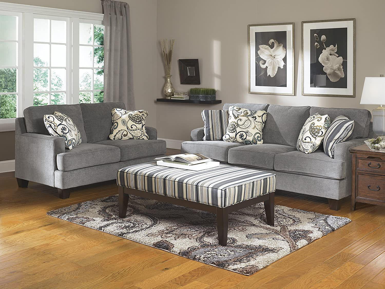 Amazon.com: Yvette Contemporary Grey Fabric Ottoman Cocktail Table: Kitchen  U0026 Dining