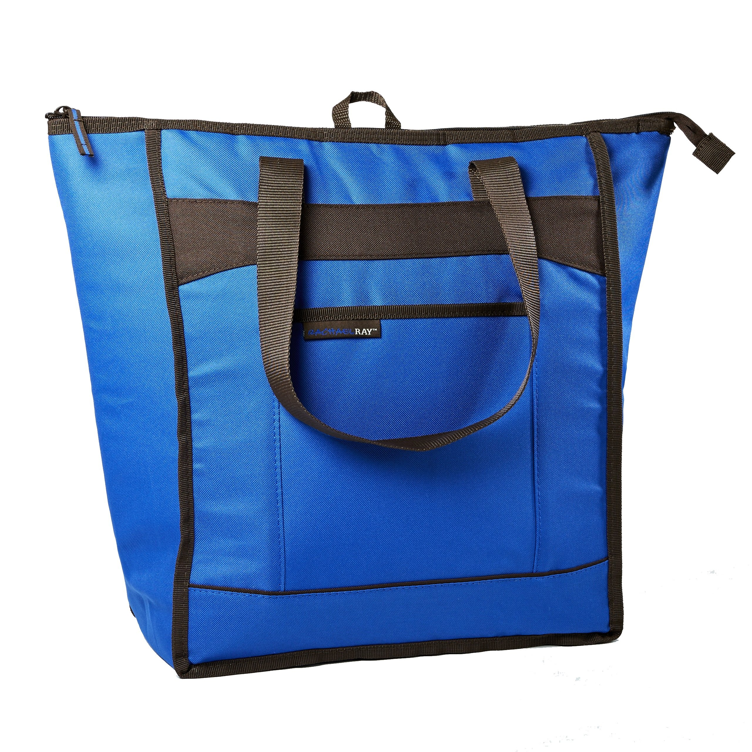 Rachael Ray ChillOut Thermal Tote, Insulated Bag for  Grocery Shopping /Entertaining, Transport Hot and Cold Food, Blue