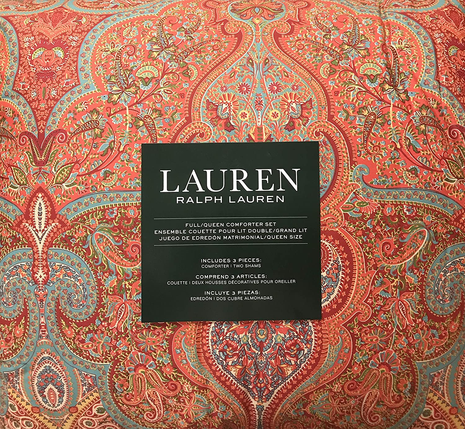 Ralph Lauren Reversible Queen Comforter Set: 100% Cotton - Beautiful Floral Paisley Pattern in Red, Red-Orange, Blue, Green, Teal Blue, Mustard Yellow, Cream | Reverse: Abstract Dotted Floral Paisley
