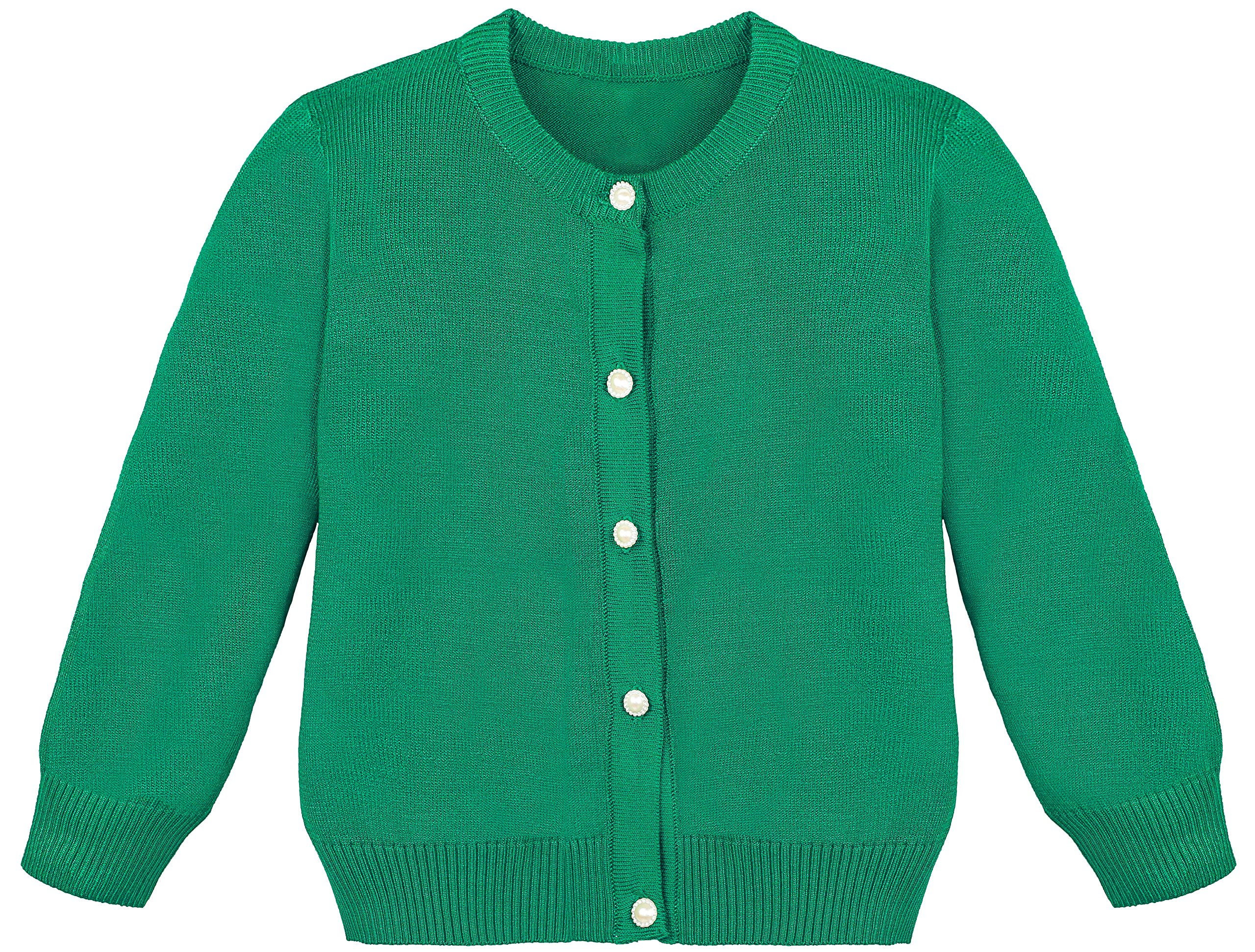 Lilax Little Girls' Knit Uniform Cardigan Long Sleeve Sweater 7 Green