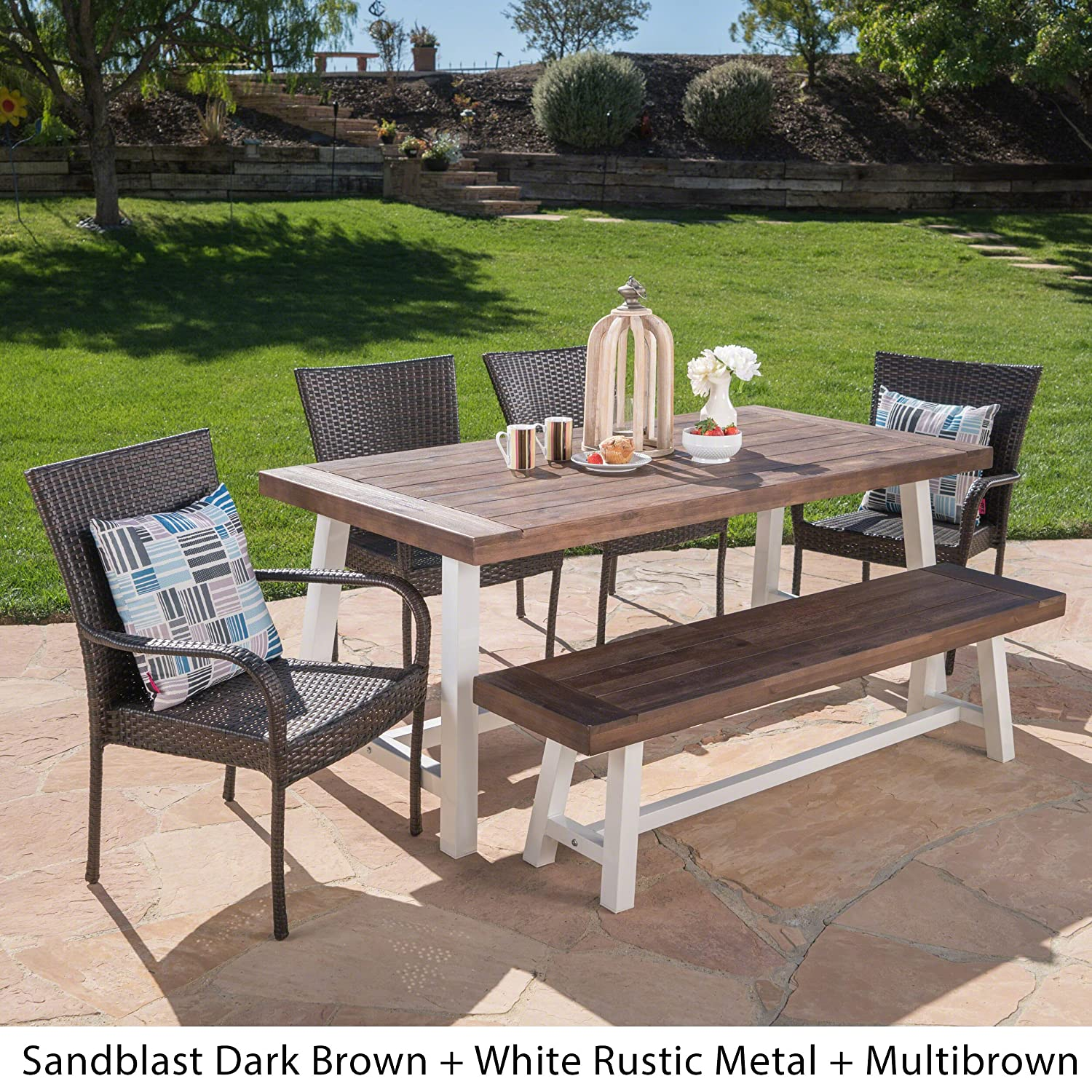 Miraculous Christopher Knight Home Cecilia Outdoor 6 Piece Stacking Multibrown Wicker Dining Set With Dark Brown Sandblast Finish Acacia Wood Table And Bench Creativecarmelina Interior Chair Design Creativecarmelinacom