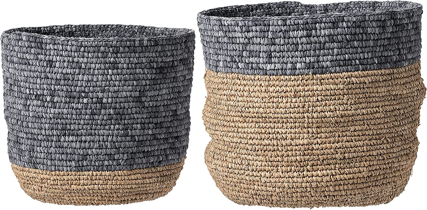 Set of 2 Beige & Grey Natural Seagrass Baskets