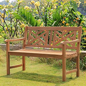 Cambridge Casual Superior Indonesian Teak Rocca Garden Bench, 4-Foot, Natural Unfinished