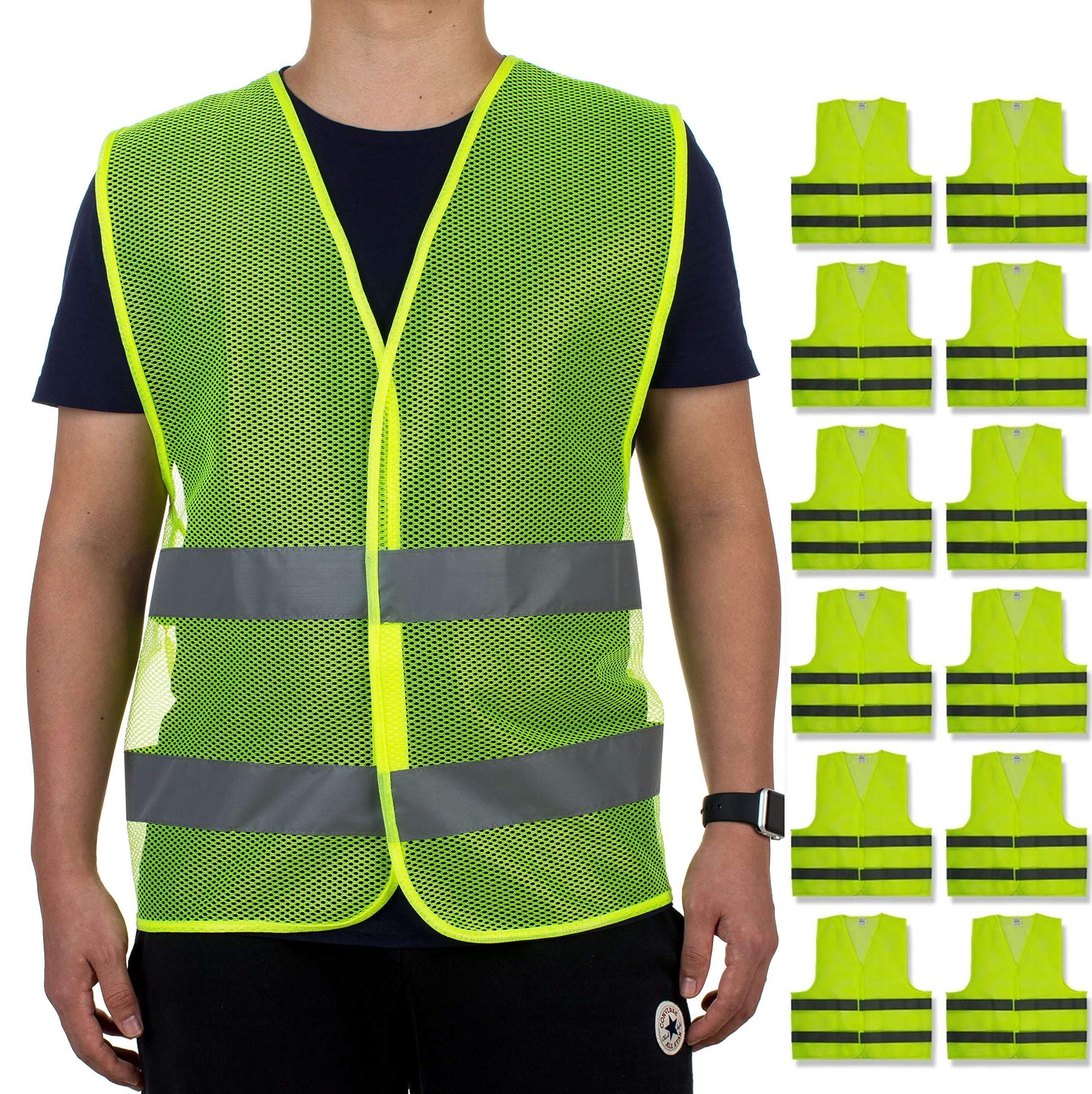 Reflective Safety Vests - Pack of 12 | High Visibility Neon Yellow Mesh | Fits Men and Women | For Construction and Surveyor Work, Security, Emergency, Event Volunteers, Traffic and Parking Workers