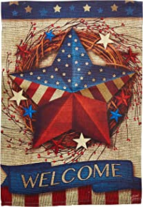 Carson Home Accents FlagTrends 46800 Welcome Classic Outdoor Garden Flag, Primitive Patriotic Barn Star