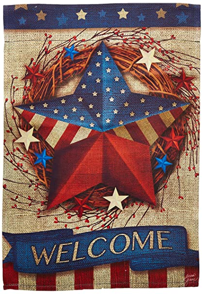 22b1297e8240 Amazon.com   Carson Home Accents FlagTrends 46800 Welcome Patriotic Barn  Star Classic Outdoor Garden Flag