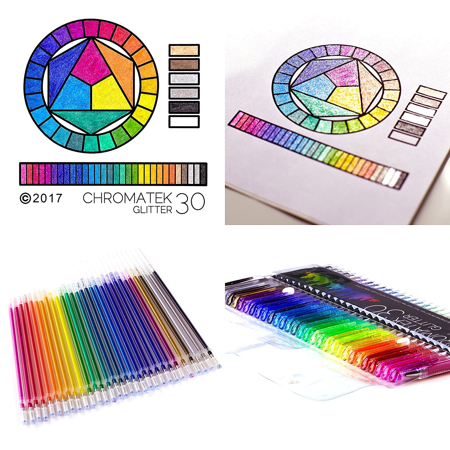 Best Colors Perfect Gift! 200/% the Ink: 30 Pens And 30 Free Refills Loved by Adults and Children Pro Art Pens No Repeats Super Glittery Ultra Vivid Colors Glitter Pens by Chromatek