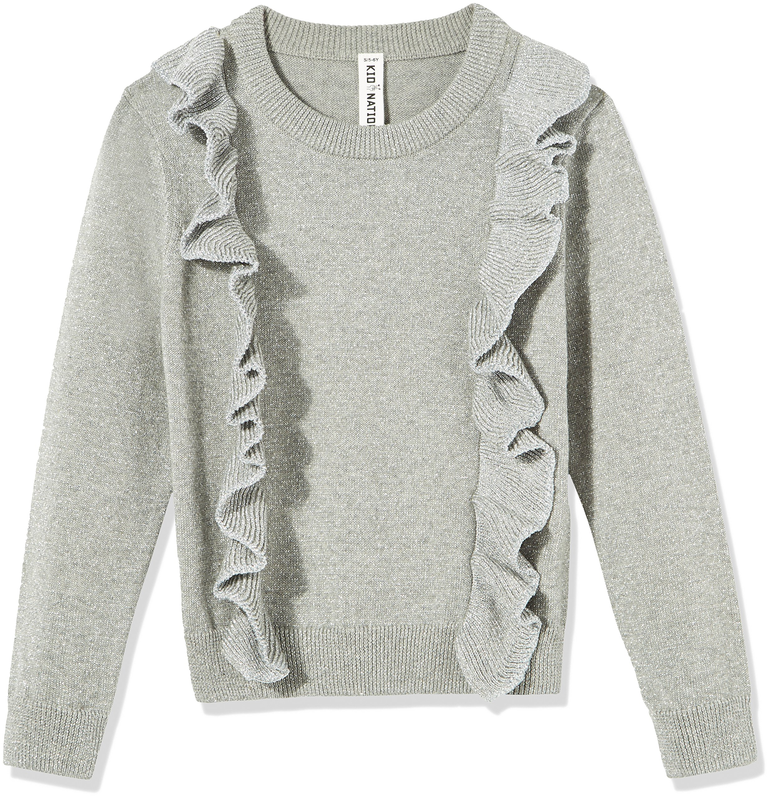 Kid Nation Girls' Long Sleeve Ruffles Pullover Sweater Size S Grey