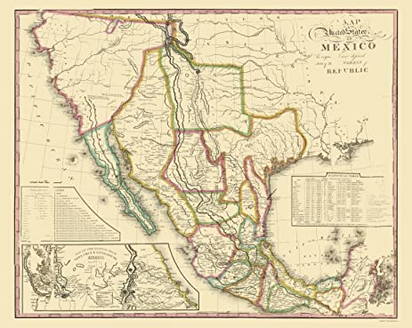 Amazoncom Old Mexico Map United States of Mexico Tanner 1826