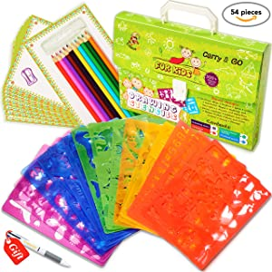 Drawing Stencils Set for Kids (54-Piece) - Perfect Creativity Kit & Travel Activity - Arts and Crafts for Girls & Boys with Over 300 Shapes - Educational Toys Age 3+ Ideal Kids Gifts!