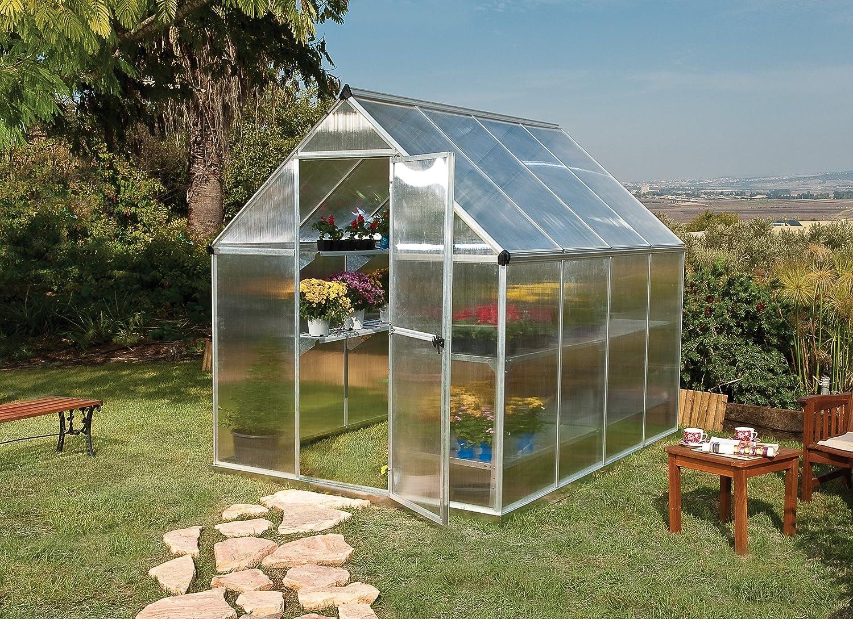 acefefcc406d Amazon.com : Palram Nature Series Mythos Hobby Greenhouse - 6' x 8' x 7'-  Silver : Greenhouse Cold Frames : Garden & Outdoor