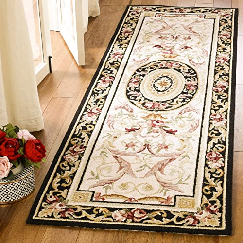 Safavieh Chelsea Collection HK72B Hand-Hooked Ivory and Black Premium Wool Runner 2 6 x 8