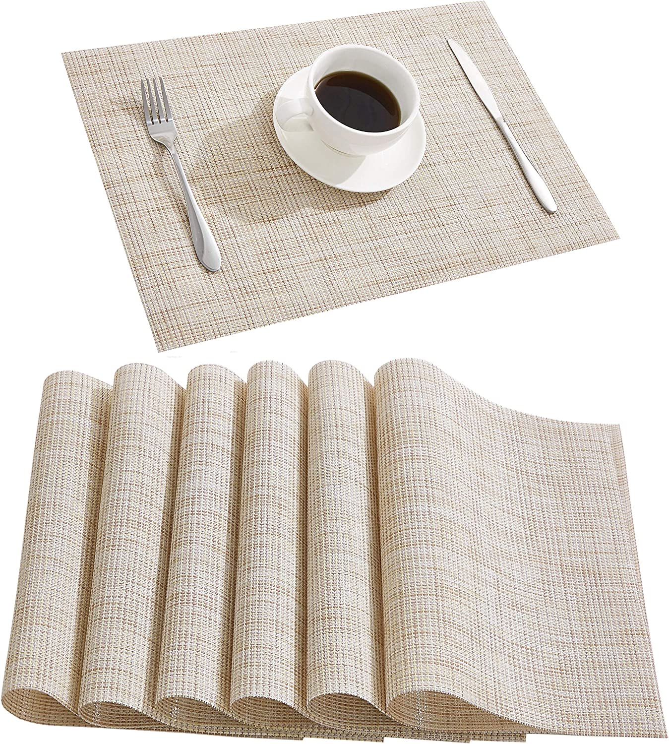 DOLOPL Placemats Placemat Waterproof Placemats Set of 6 Table Mats Heat Resistant Non Slip Wipeable Placemat for Kitchen Dining Restaurant (Beige)
