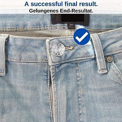 VINLINGDAI Boutons de Jeans Bouton de Remplacement de Pantalon 17mm Kits de Remplacement de Bouton en M/étal de Diff/érentes Tailles avec Bo/îte 120PCS
